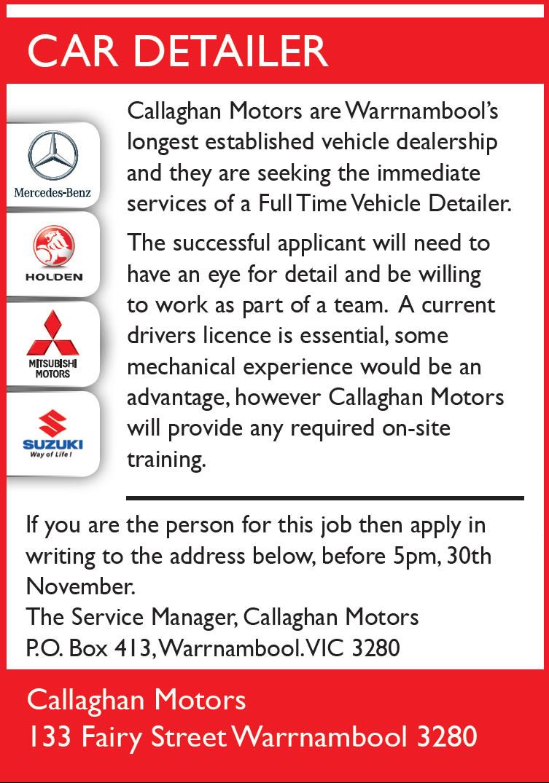 Callaghan Motors Provides A Variety Of Fantastic Career